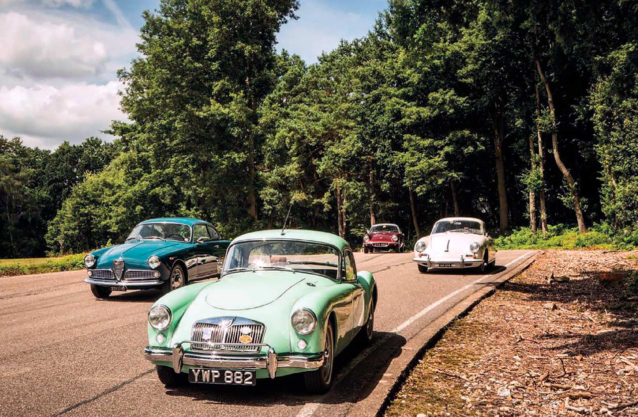 MGA Twin-Cam takes vs. Porsche 356B, Lotus Elite and Alfa-Romeo Giulietta