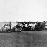 1925 50-mile championship race with Colliver's Chrysler, Poole's Bugatti, Cranston's Ford and Smith's Buick; Ron West in his Brax Dodge at the 2014 Centenary; Wizard Smith's team; motorcycle ace Sprouts Elder drifts in style, 1928.