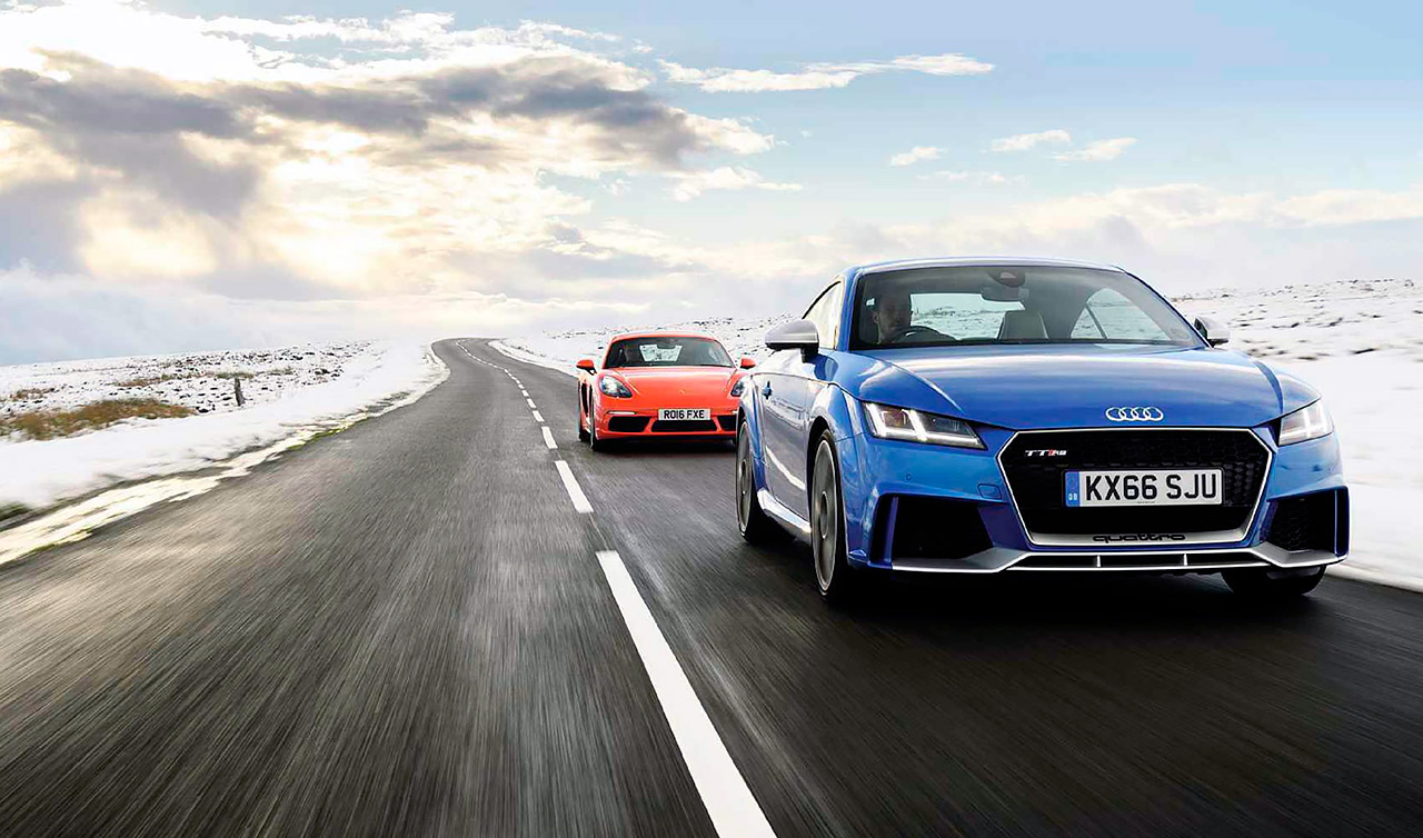 2017 Audi TT RS 8S vs. 2017 Porsche 718 Cayman S 981 and 2017 BMW M2 F87 road test