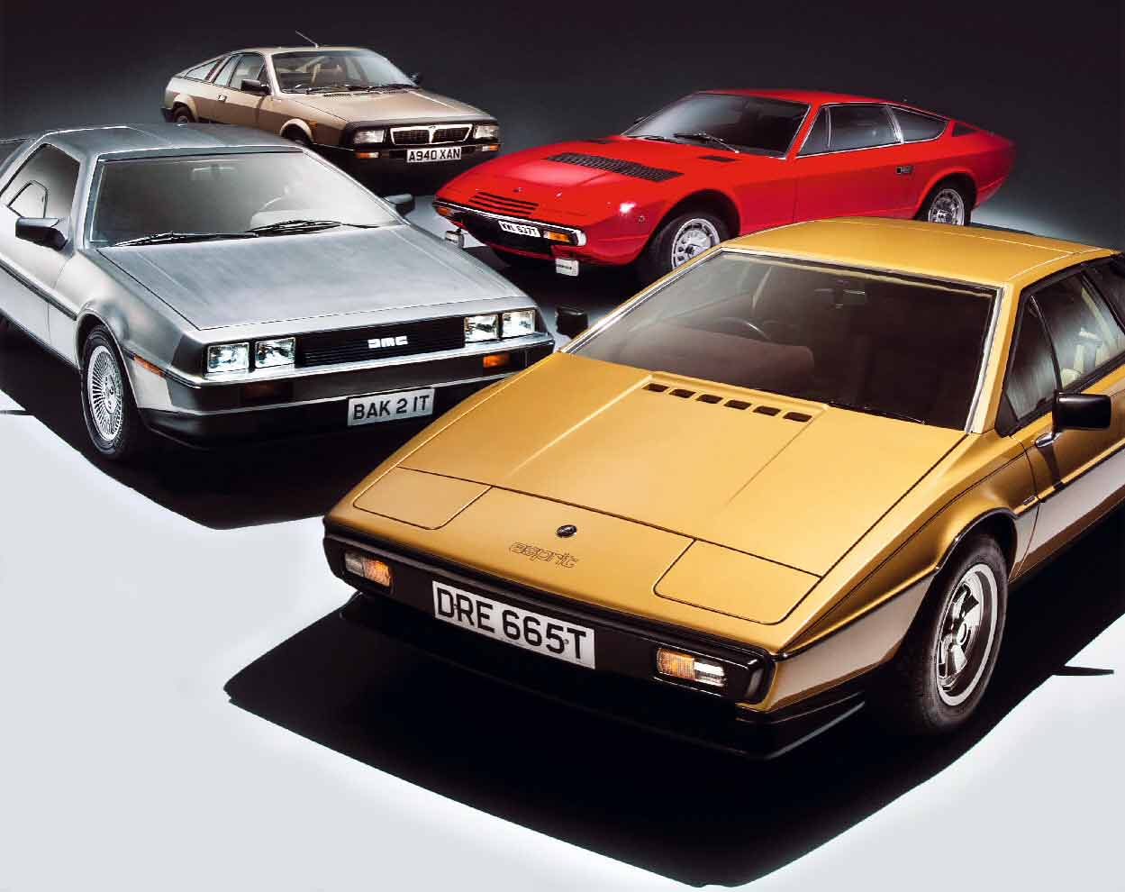 DeLorean DMC-12, Lancia Montecarlo, Maserati Khamsin and Lotus Esprit