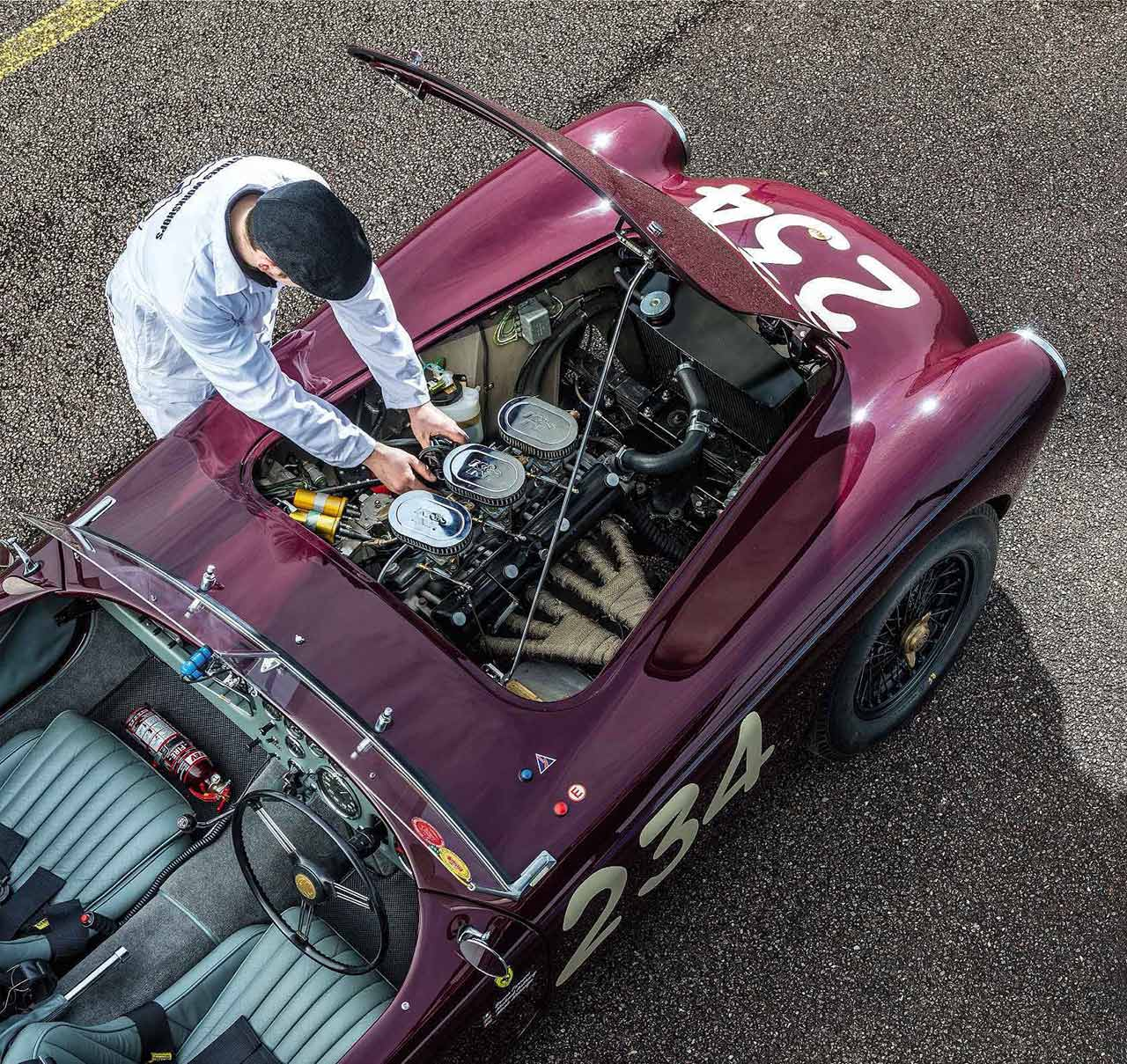 1955 AC Ace testing the newly restored ex-Mille Miglia car