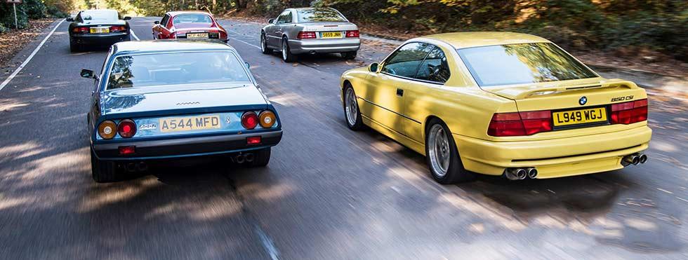 Ferrari 400i, Jaguar XJ-S, BMW 850 E31, Mercedes-Benz SL 600 R129 or Aston-Martin DB7