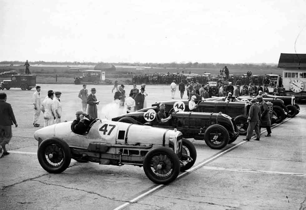 Ready for the off at what turned out to be a contentious 1932 British Empire Trophy at Brooklands: Cobb nearest, Eyston third from camera