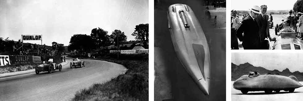 Clockwise, from above: the usefulness of Thunderbolt's fin was questionable over 200mph; Railton Special was far more aerodynamic looking than its rival; Eyston (left) with Bira at Donington in 1939; Eyston and eventual winner Freddie Dixon's Rileys dice during the 1936 Ards TT