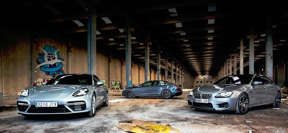 2017 BMW M6 Gran Coupé F06 vs Porsche Panamera Turbo 971 vs Tesla Model S P100D