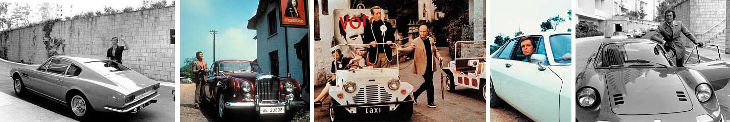 Roger Moore's The Persuaders Aston (plus Tony Curtis' Dino, far right); Jason King (Peter Wyngarde) with Department S Bentley S2; Prisoner Patrick McGoohan in Moke; Return of the Saint with Ian Ogilvy's XJ-S.