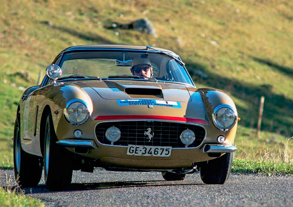 Italian GT3 champion Mirko Venturi samples an historic Ferrari 250GT Berlinetta SWB rally car