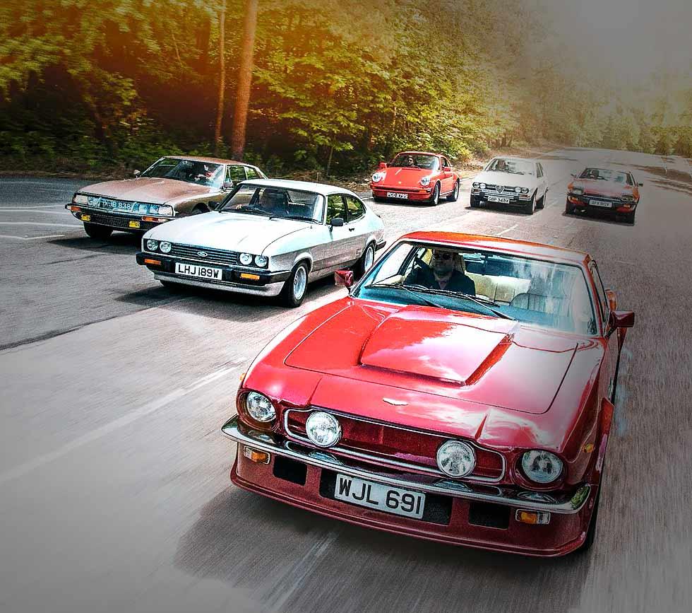 Porsche 911 3.0 SC, Ford Capri 3.0S, Alfa-Romeo Alfetta GTV, Jaguar XJ-S 5.4 V12, Aston-Martin V8 Vantage 5.4 and Citroën SM 2.7 IE road test
