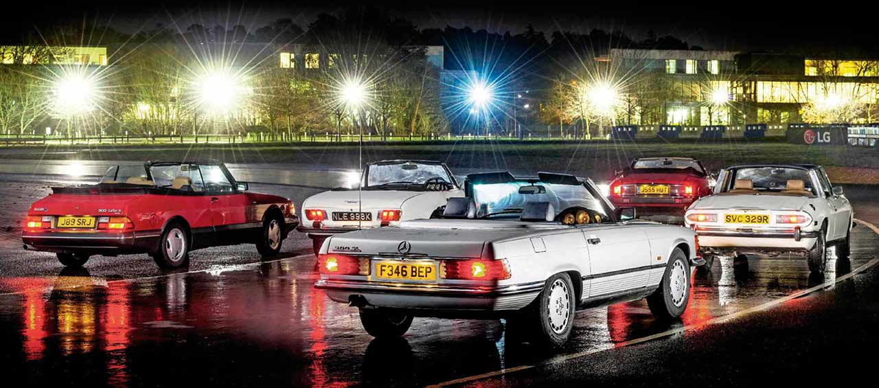 1989 Mercedes-Benz 300 SL R107, 1992 Jaguar XJS 4.0 Convertible, 1991 Saab 900 Turbo 16S Convertible, 1973 Peugeot 504 2.0 Convertible and 1974 Triumph Stag - comparison road test