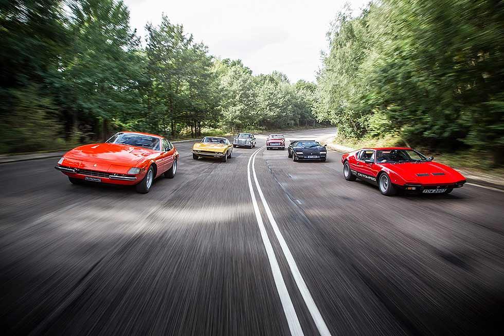 Bristol 410 vs. Mercedes-Benz 280 SE 3.5 Coupé W111, Iso Grifo GL365 vs. Ferrari 365 GTB/4 Daytona and De Tomaso Pantera GTS vs. Lamborghini Countach 5000S