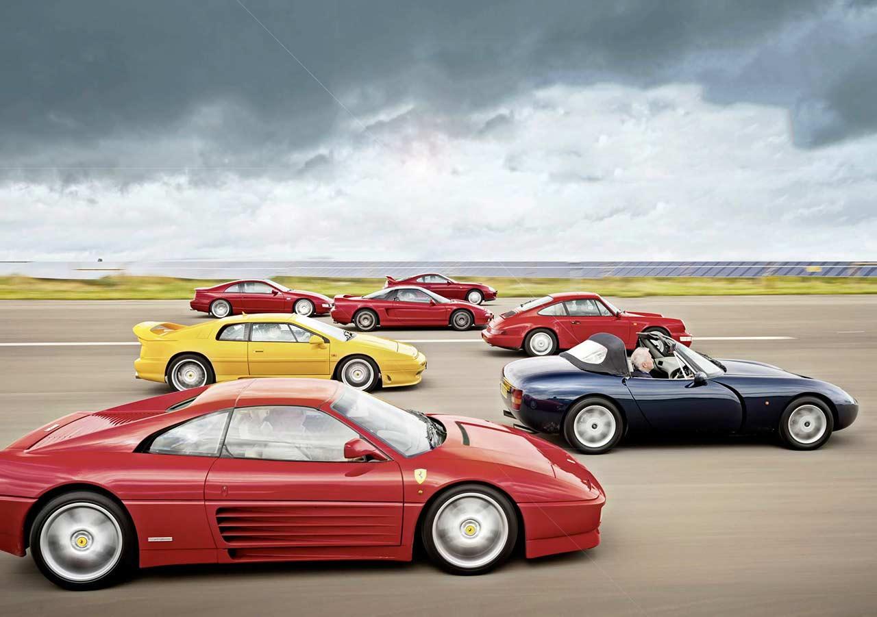 Ferrari 348ts vs. Honda NSX, Lotus Esprit GT3, Nissan 300ZX, Porsche 911 Carrera 2 964, Toyota Supra and TVR Griffith 4.0