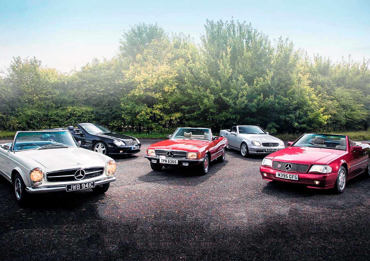 1965 Mercedes-Benz 230SL W113 vs. 1977 350SL R107, 1995 SL320 R129, 2000 SLK230K R170 and 2003 SL55 AMG R230
