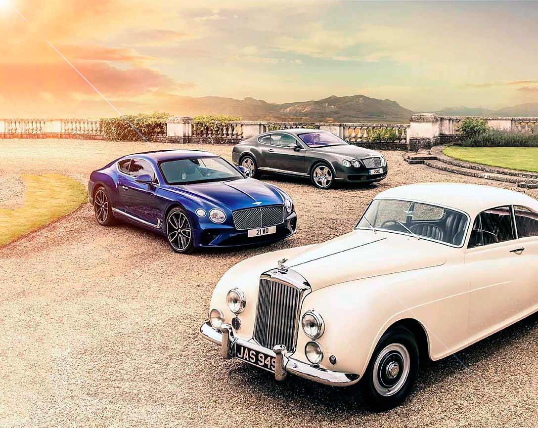 1953 Bentley R Type Continental Fastback, 2018 Bentley Continental GT and 2003 Bentley Continental GT