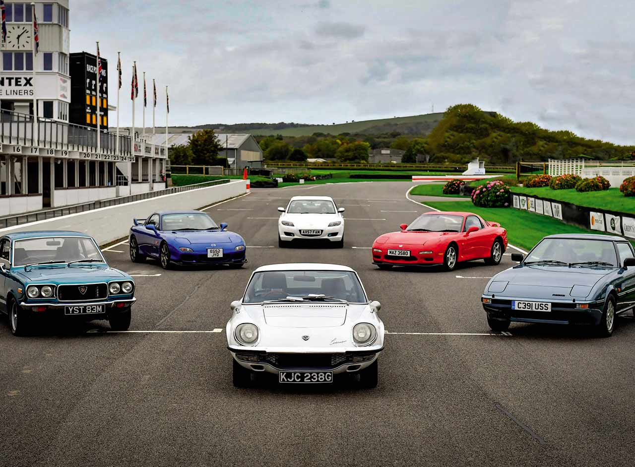 Fifty years of Mazda's rotary engine - Mazda Cosmo 110S and RX-8, RX-3, RX-7 MkI, RX-7 MkIII Bathurst