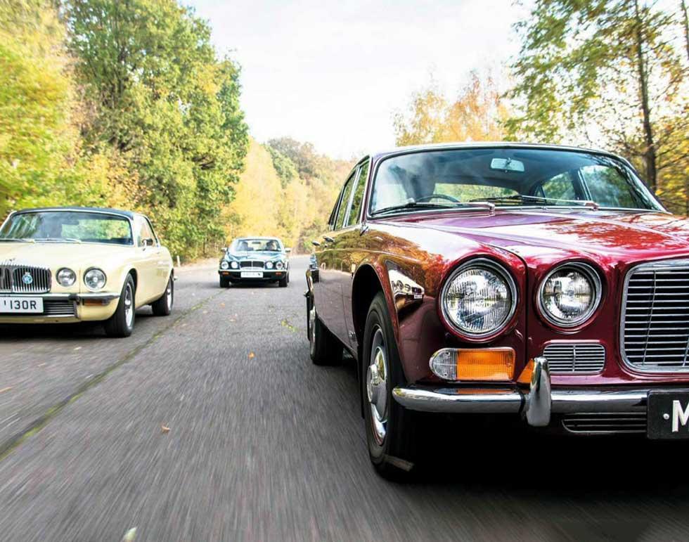 Jaguar luxury class: Series 1 XJ leads a Series 2 Daimler Sovereign Coupé and Series 3 V12