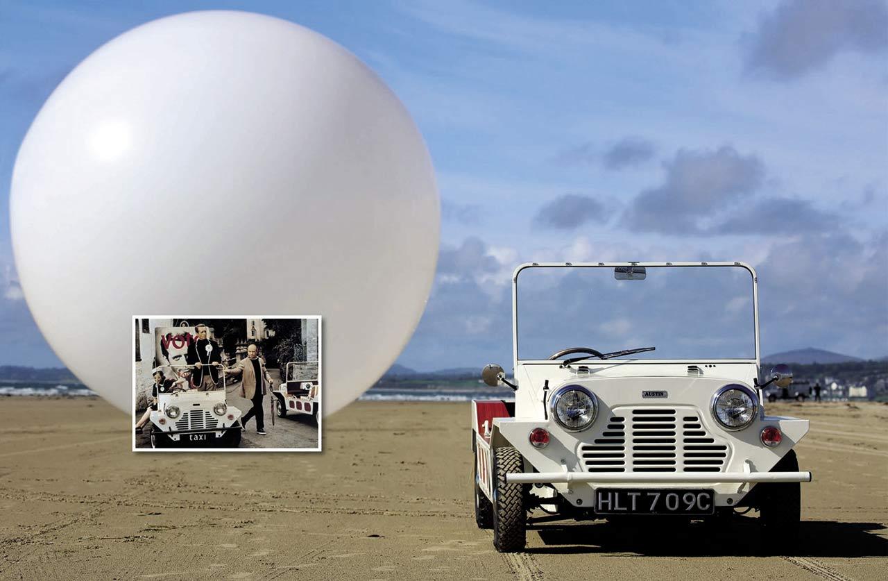 1966 Austin Mini Moke W&P Taxi ride back to the Prisoner road test James Mann/Rex Features