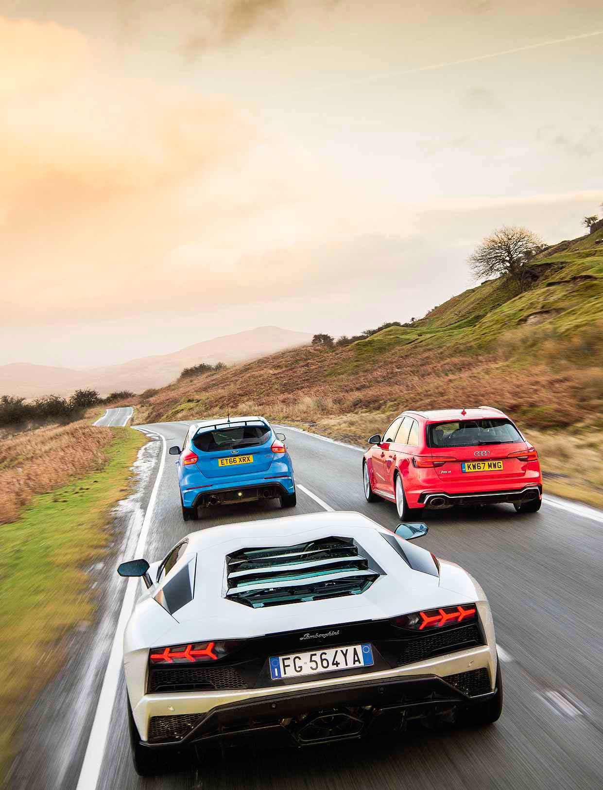 Mercedes-AMG E63 S W213 vs. Lamborghini Aventador S, Ford Focus RS MkIII C346-Type, Audi RS4 B9 Type 8W, Audi S1 Type 8X, Honda NSX MkII