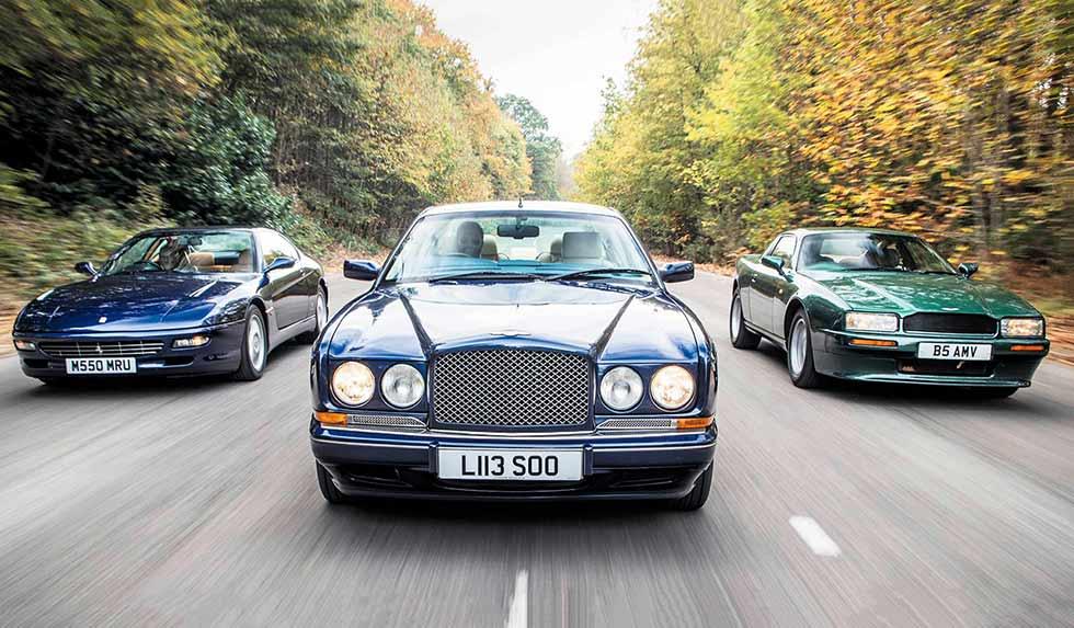 1990 Aston Martin Virage vs. 1993 Bentley Continental R and 1993 Ferrari 456GT comparison premium youngtimer Coupe road test