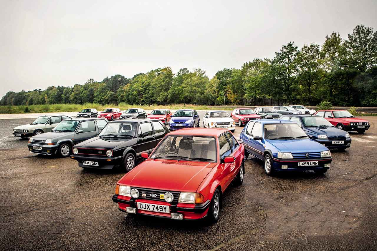 VW Golf GTI mkI vs. Alfa Romeo Alfasud Ti 1.3, Ford Escort XR3i, Vauxhall Astra GTE Mk1, Fiat Strada Abarth 130TC, VW Golf GTI 16V MKII, Renault 5 GT Turbo, Peugeot 205 GTI 1.9, MG Maestro Turbo, Volkswagen Golf VR6 MKIII, Renault Clio Williams, Peugeot 306 GTI-6, Honda Civic Type R, Ford Focus RS Mk1, Alfa Romeo 147 GTA, Renault Clio 182 Trophy, Renault Mégane R26R