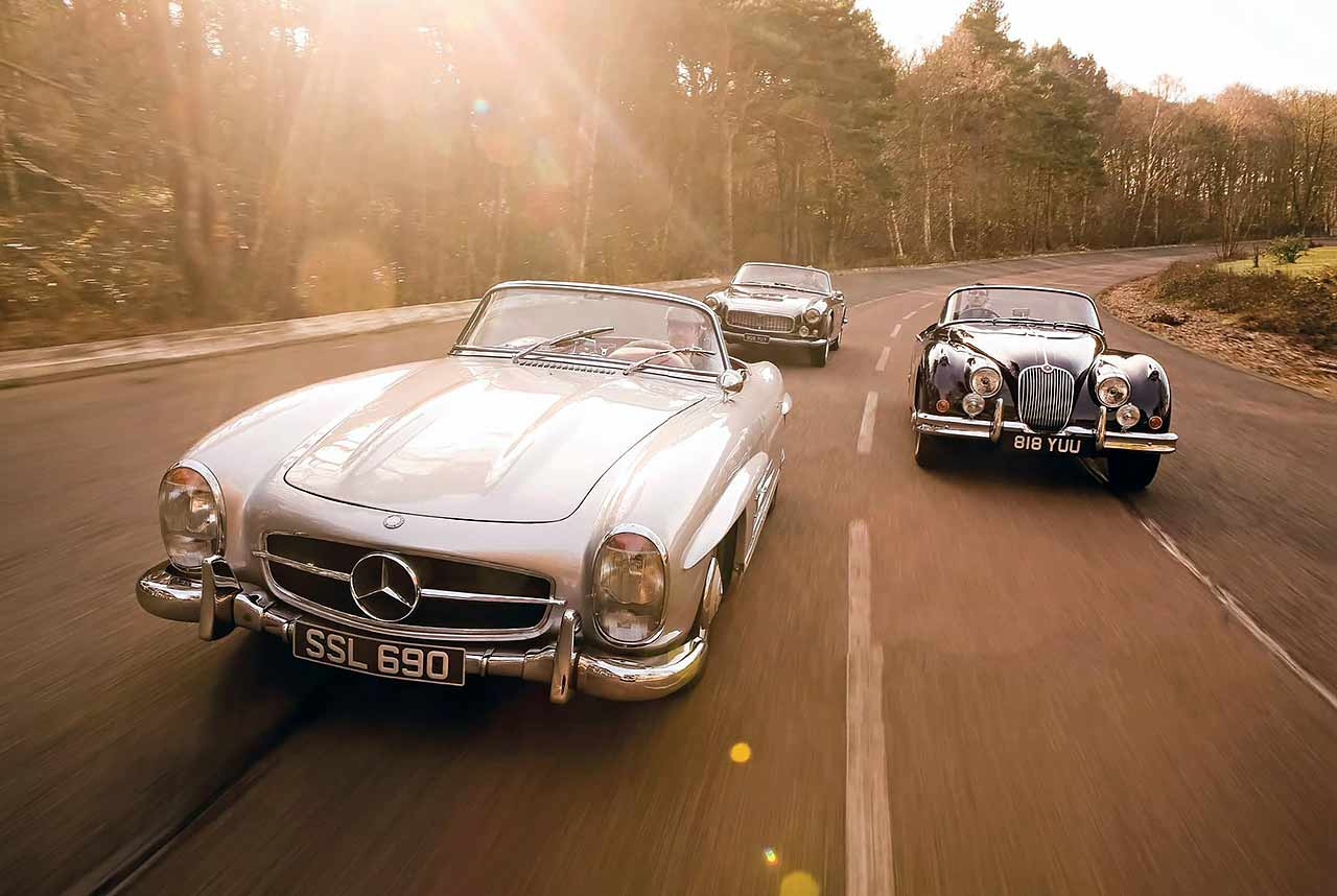 1958 Jaguar XK150 Roadster vs. 1957 Mercedes-Benz 300SL Roadster W198 II and 1959 Maserati 3500GT Spyder