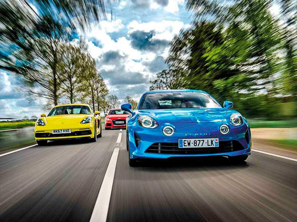 2019 Alpine A110 versus 2019 Porsche 718 Cayman S 982C and 2019 Audi TT RS 8S