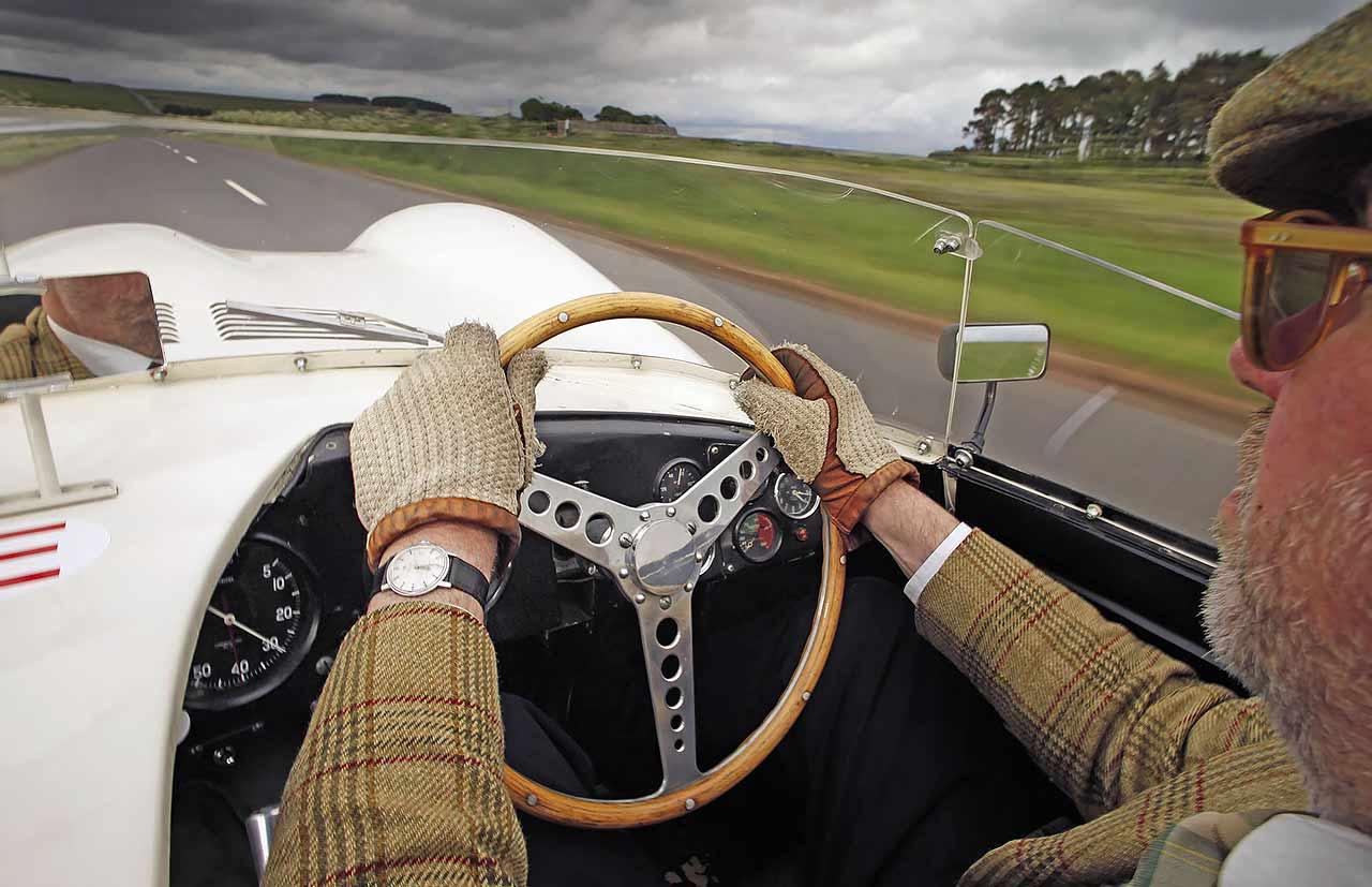 Jim Clark's 1955 Jaguar D-type on the road in Scotland