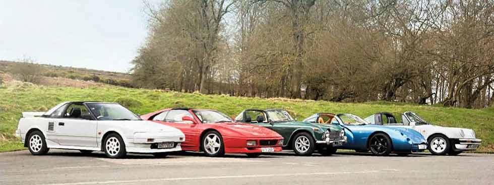 1966 Triumph TR4A vs. 1987 Porsche 911 Carrera 3.2 Targa Supersport G-Series, 1987 Toyota MR2 MkI, 1992 Ferrari 348ts, 2001 TVR Tuscan Speed Six Red Rose