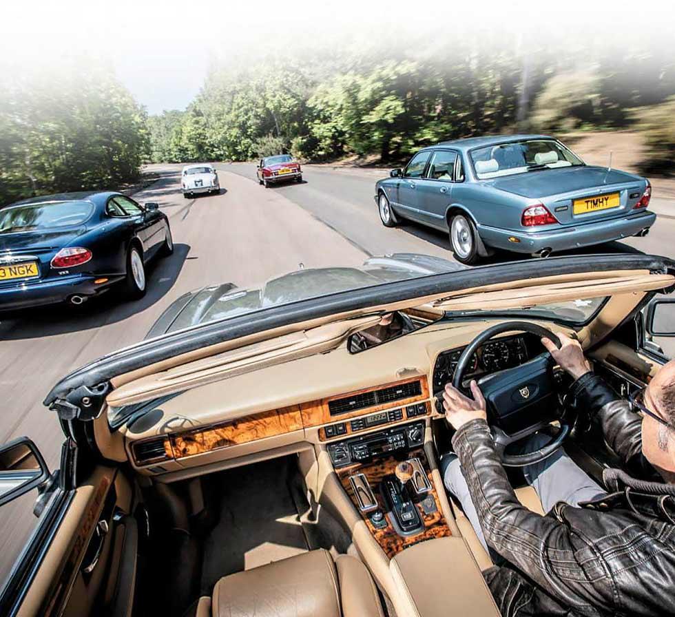 1966 Jaguar S-type vs. 1977 Jaguar XJ5.3C, 1994 Jaguar XJS 4.0 Convertible, 2000 Jaguar XKR X100 and 2002 Jaguar XJR X308