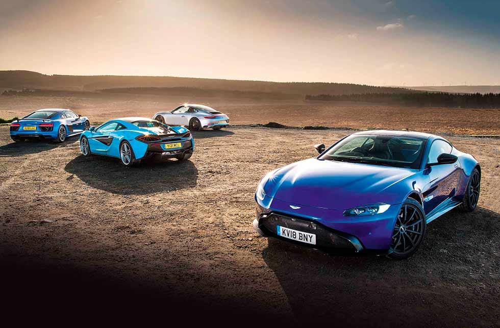 All new 2019 Aston Martin Vantage vs. 2019 Porsche 911 Carrera 4 GTS 991.2, 2019 Audi R8 V10 Plus and 2019 McLaren 540C - comparison road test