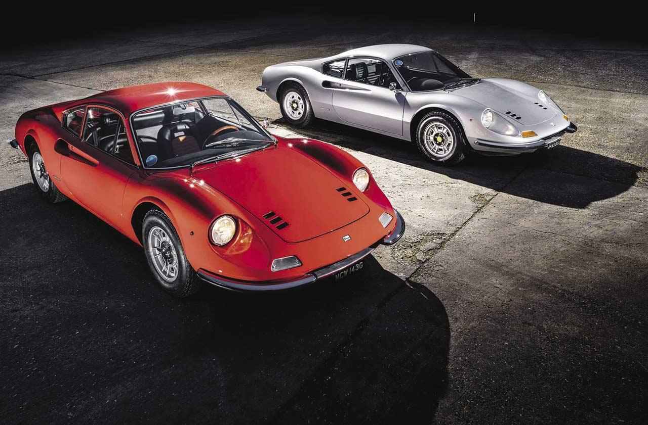1968 Ferrari Dino 206 GT with classic 1970 Dino 246 GT