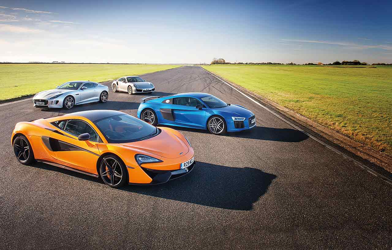 McLaren 570S vs. Audi R8 V10 Plus, Porsche 911 Turbo S 991 and Jaguar F-type R AWD