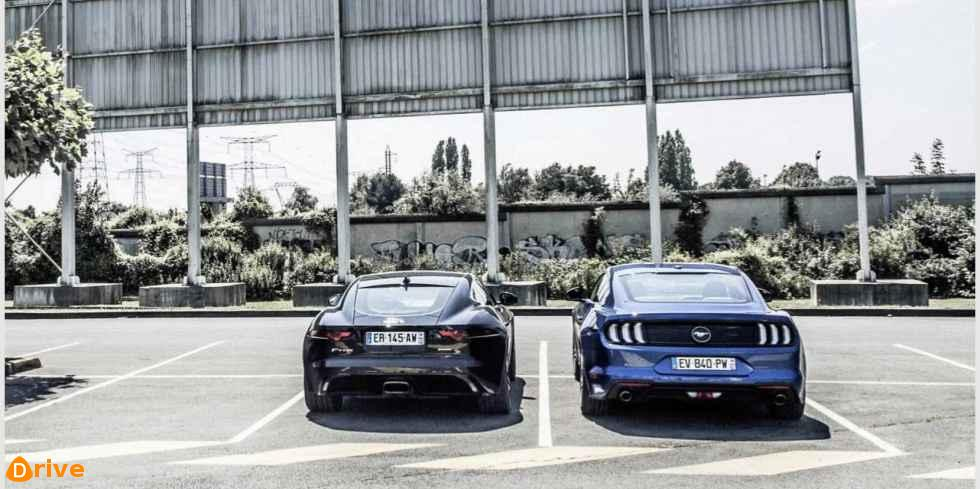 Jaguar F Type 2.0 vs Ford Mustang EcoBoost rear view