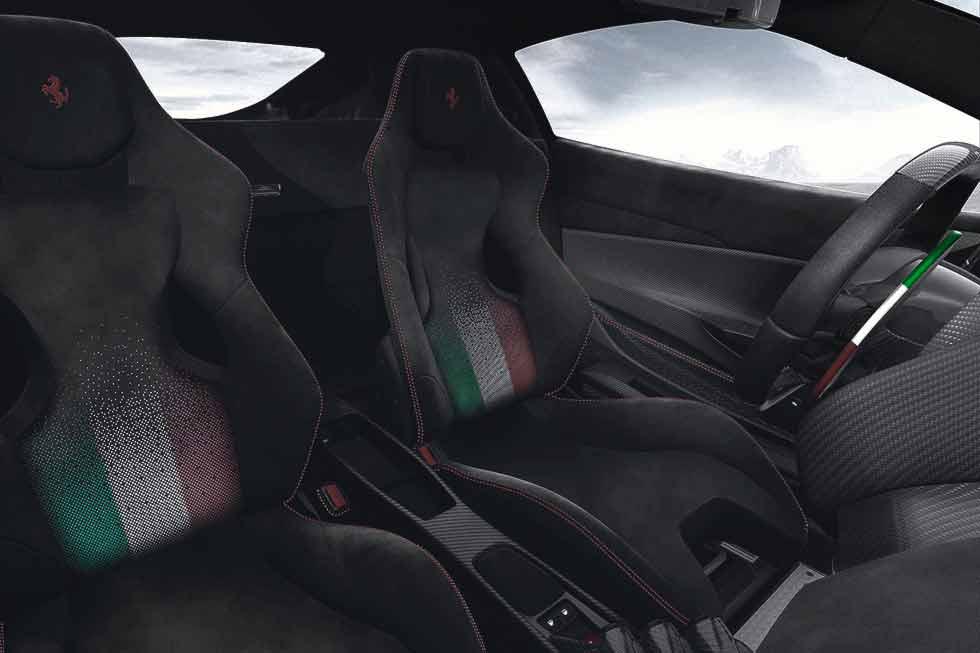 Interior of 2019 Ferrari 488 Pista Piloti Ferrari is a supercar for racing drivers