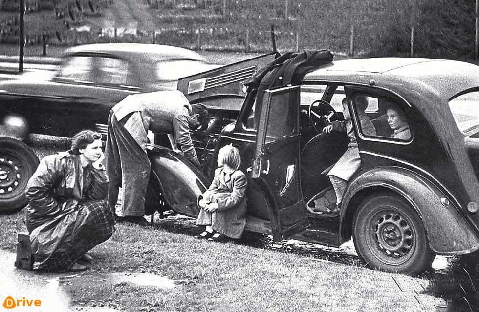 "This tableau was posed by Picture Post in October, 1954, to illustrate an article titled ""Which Came First - The Woman Or The Car?"" Exactly what the gist (or conclusion) of this feature was we don't know – if you have Picture Post #7351"