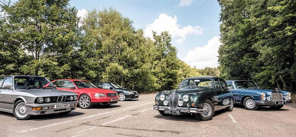 BMW E28 M5, Audi S4, Lotus Carlton, Jaguar Mk2 and Mercedes-Benz 300SEL 6.3 W109