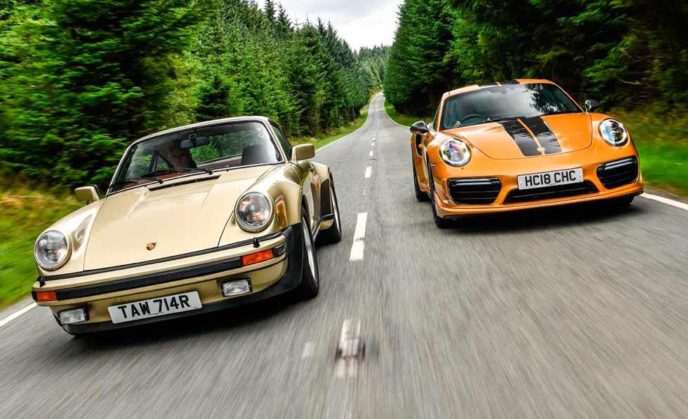 1976 Porsche 911 Turbo 3.0 930 versus 2018 Turbo S Exclusive Edition 991.2 - comparison road and track test