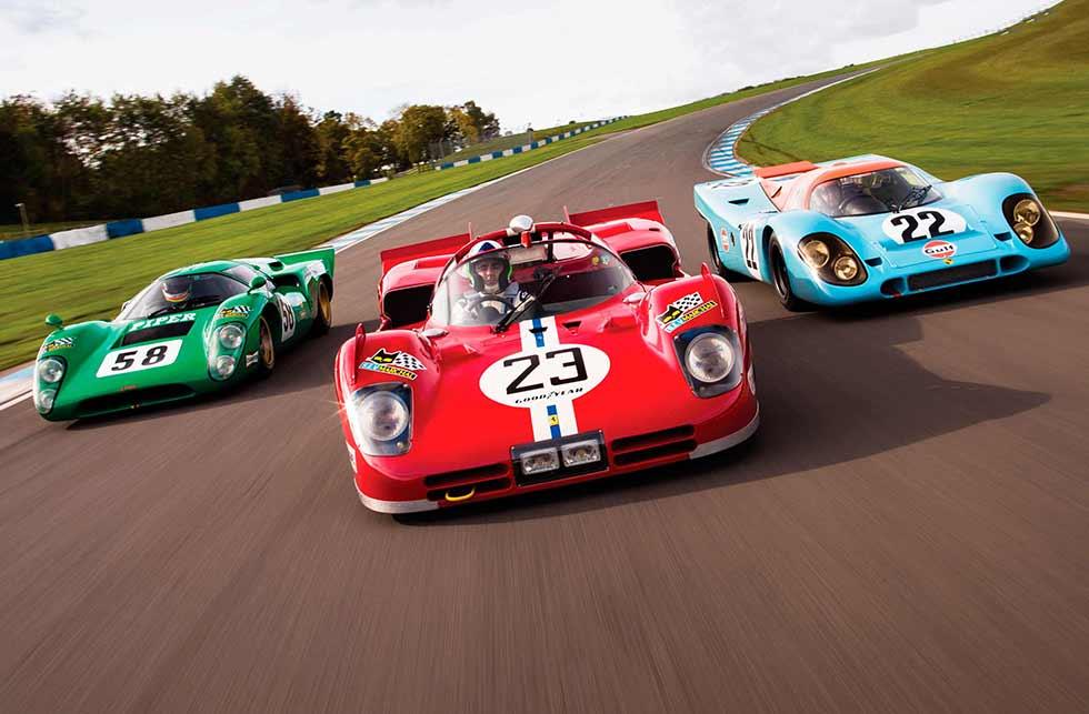 Triple track test Ferrari 512S vs. Porsche 917K and Lola T70