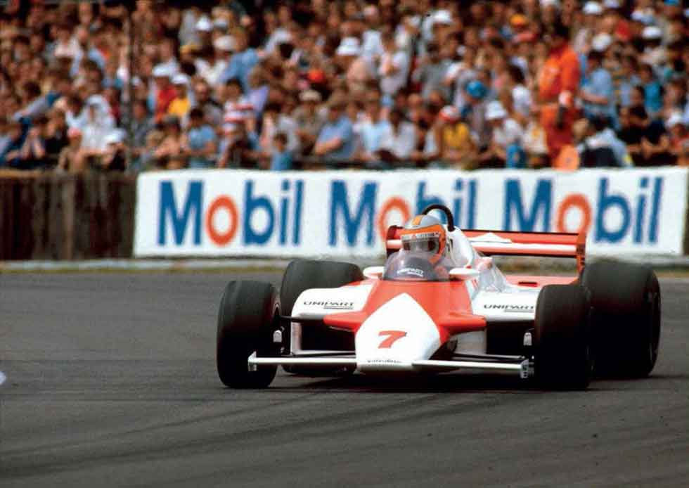 Brit John Watson slides the Barnard-designed MP4/1 Ford to victory in his home Grand Prix at Silverstone in 1981.