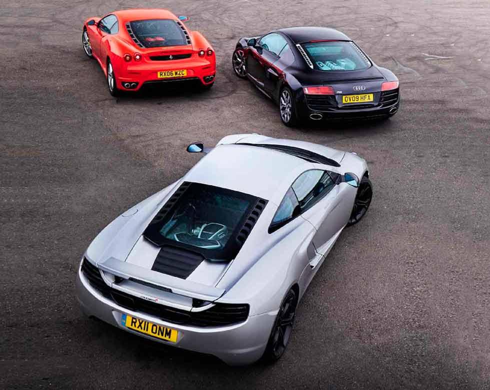 Audi R8 V10 Type 42 vs. McLaren MP4-12C and Ferrari F430 - comparison road test