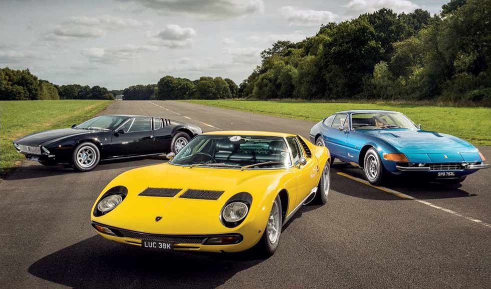 Lamborghini Miura SV vs. Ferrari 365 GTB/4 Daytona and De Tomaso Mangusta - comparison road test