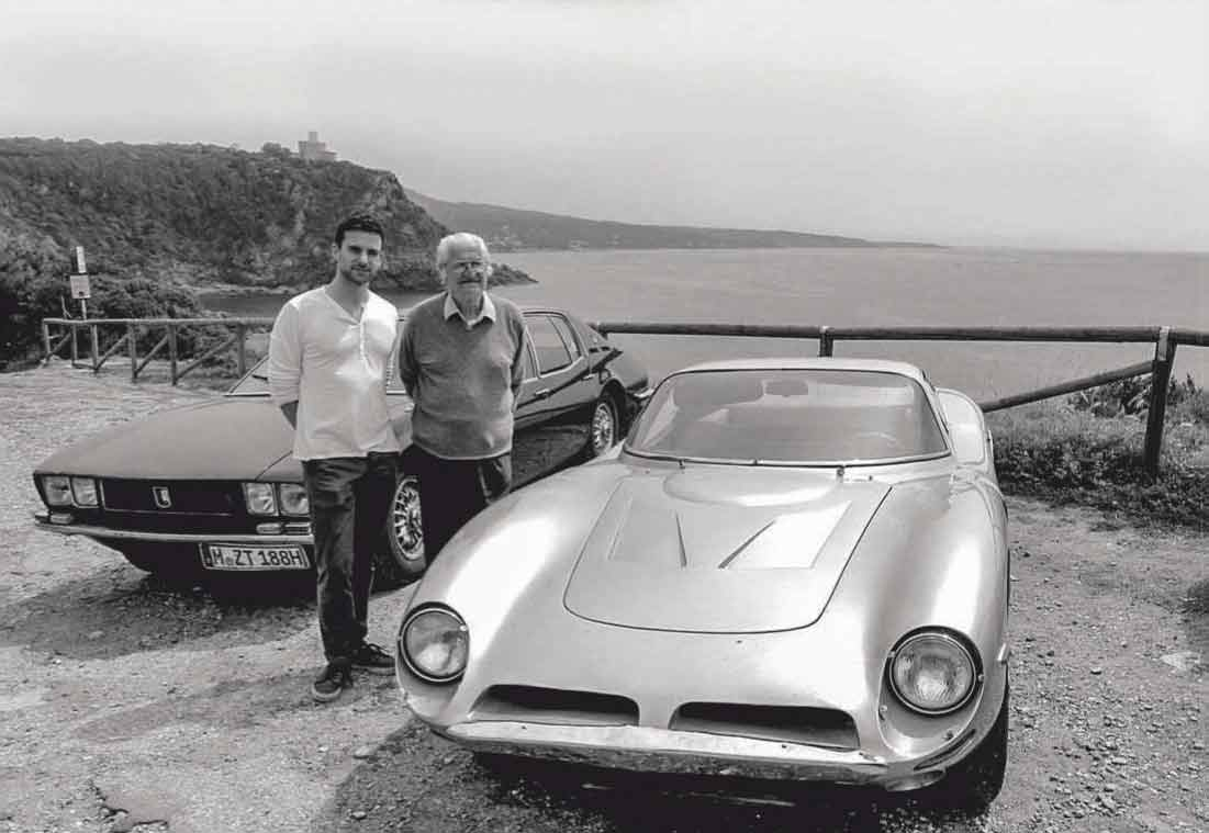 Meeting your hero: Guy Berryman and Giotto Bizzarrini, who arrived in his Iso Fidia, at Livorno in 2013