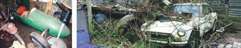 Two MGs – a BGT and a Y-type – await rescue from their overgrown East Anglian hideout.