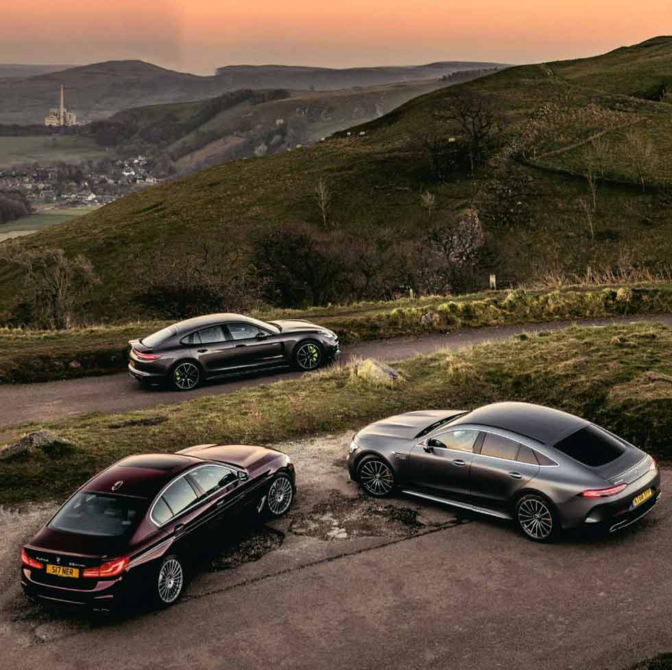 2019 Mercedes-AMG GT 63S 4 Door X290 vs. 2019 Alpina B5 G30 and 2019 Porsche Panamera Turbo S E-Hybrid 971