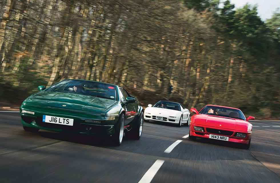 Ferrari 348ts vs. Lotus Esprit S4S and Honda NSX-R