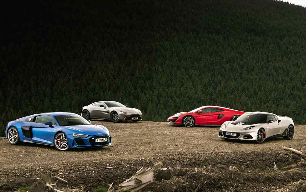 2020 Porsche 911 Carrera S 992 vs. 2019 McLaren 570GT, 2020 Aston-Martin Vantage, 2020 Audi R8 V10 Type 4S and 2019 Lotus Evora GT410
