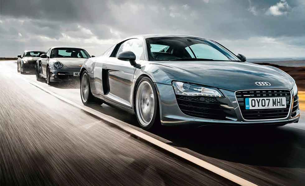 Audi R8 V8 Type 42 vs. Porsche 911 Turbo 997 and Nissan GT-R R35
