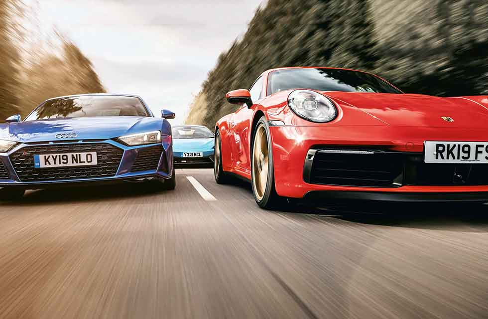 2020 Porsche 911 Carrera S 992 vs. 2020 Audi R8 V10 Type 4S and 2019 McLaren 570S
