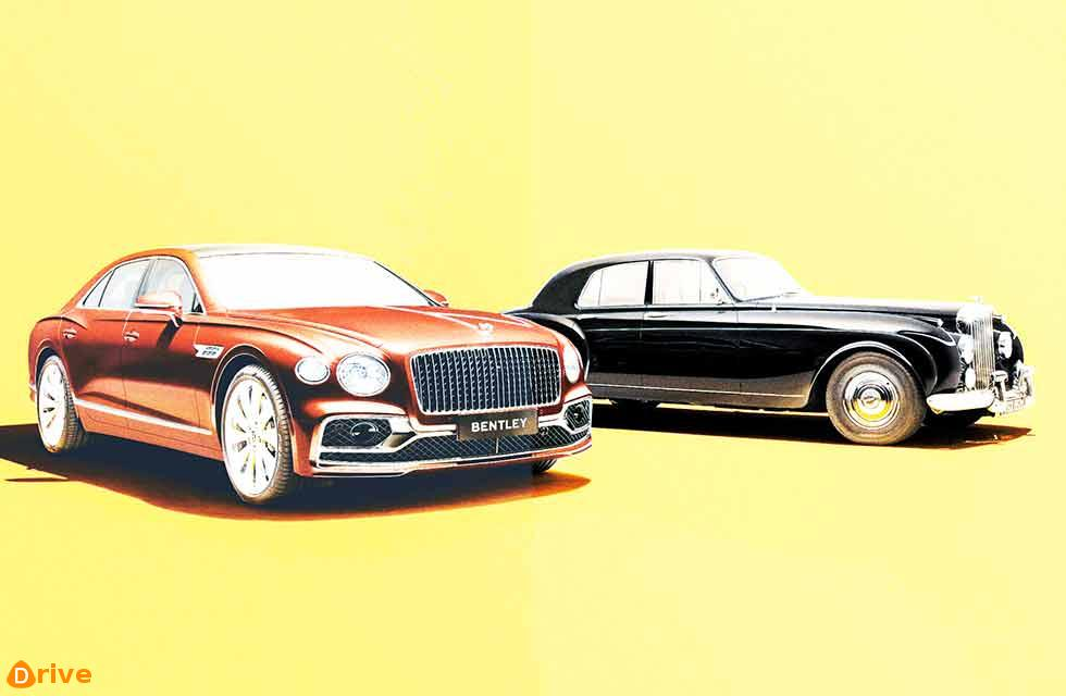 Bentley's new Flying Spur New saloon meets the first of the line
