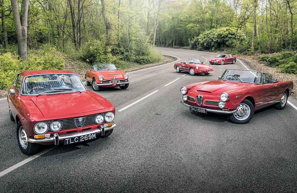 1963 Alfa Romeo Giulia Spider Tipo 101 vs. 1964 2600 Spider Tipo 106, 1972 2000GTV Tipo: 105, 1990 Spider Series 4 and 2003 156GTA Tipo 932
