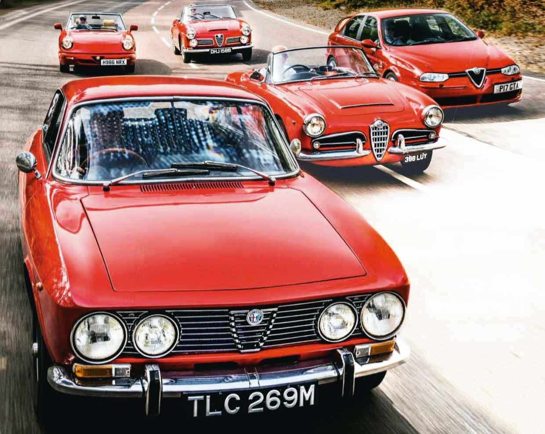1963 Alfa Romeo Giulia Spider Tipo 101 vs. 1964 2600 Spider Tipo 106, 1972 2000GTV Tipo 105, 1990 Spider Series 4 and 2003 156GTA Tipo 932